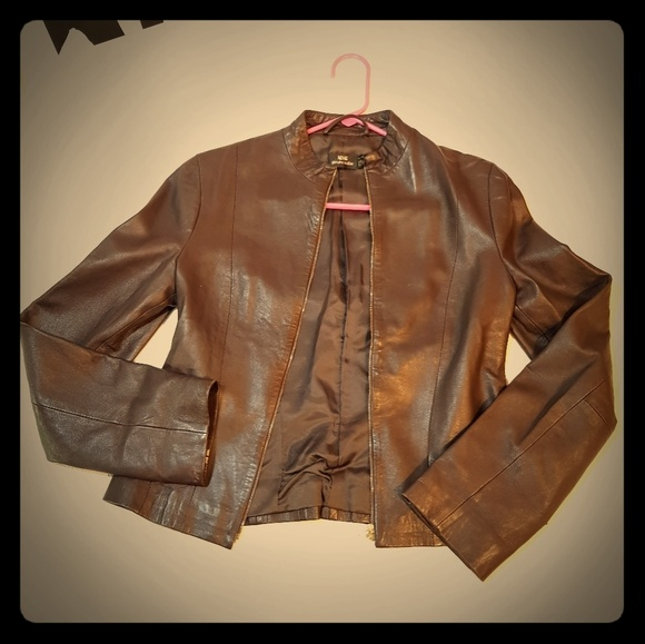 Mango Jackets & Blazers - ManGo Brown Lamb Leather Jacket